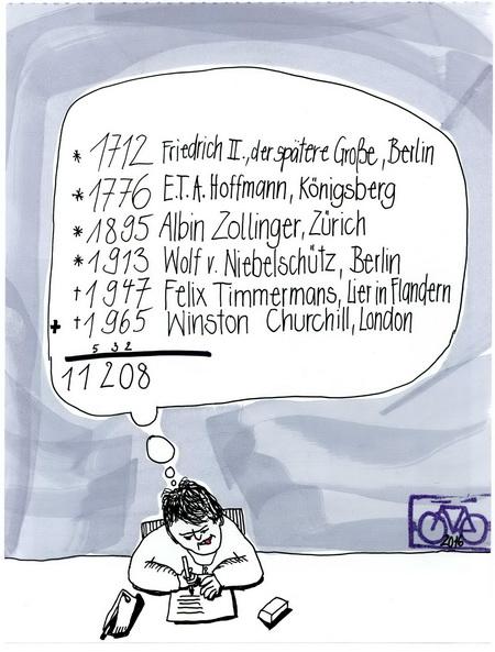 Zeichnung: Mathelehrer V. Onmir, Rabenkalenderrückseite 24.1.2016