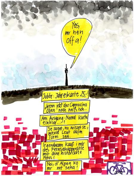 Zeichnung: Turmfan V. Onmir, Rabenkalenderrückseite 31.1.2016