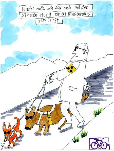 Zeichnung: Hundeinklusionsfreund V. Onmir, Rabenkalenderrückseite 15.2. 2016