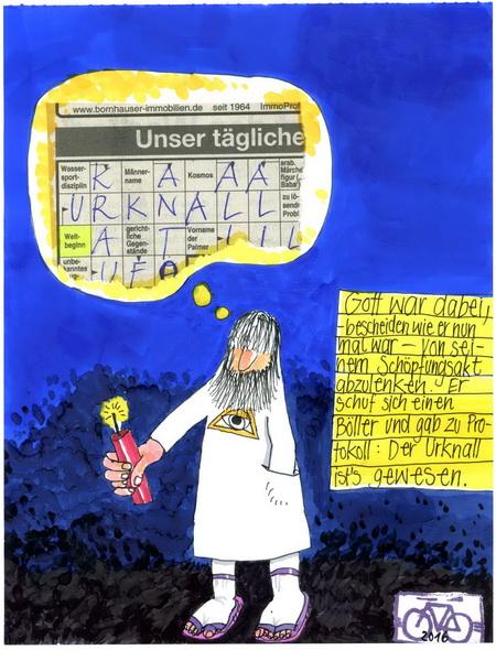 Zeichnung: V. Onmir, Rabenkalenderrückseite 22.2.2016