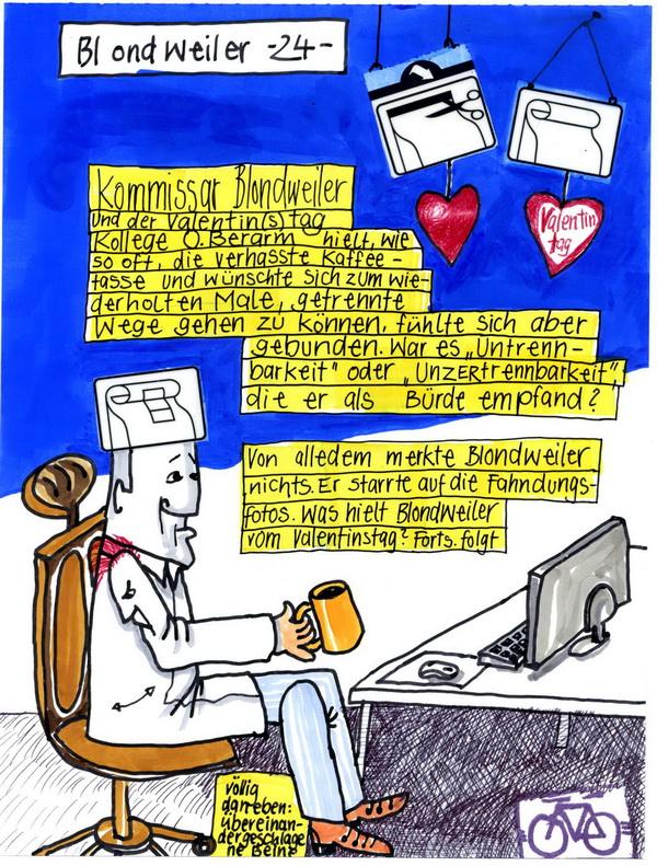 Zeichnung: ValentiNOtagbegeher V. Onmir, Rabenkalenderrückseite 14.2.2016
