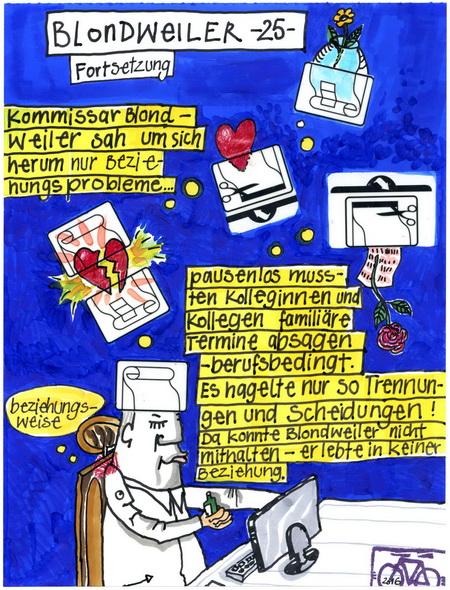 Zeichnung: Blondweiler-Intimus V. Onmir, Rabenkalenderrückseite 23.2.2016