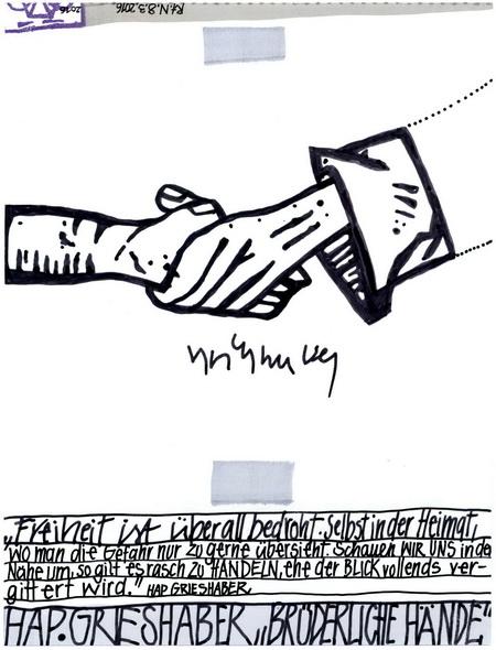 Zeichnung: HAPtiker V. Onmir, Rabenkalenderrückseite 7.3.2016