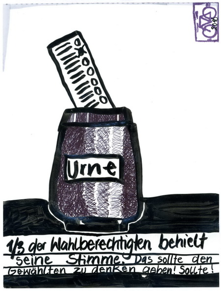 Zeichnung: Wahlsinnierer V. Onmir, Rabenkalenderrückseite 13.3. 2016