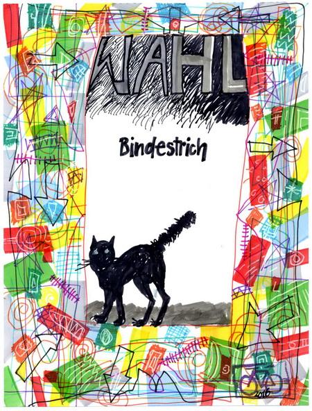 Zeichnung: Rätselfreund V. Onmir, Rabenkalenderrückseite 14.3. 2016