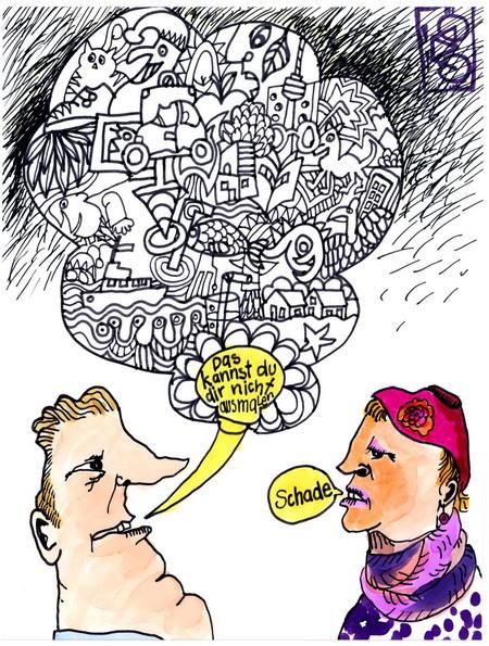 Zeichnung: Aus-Maler V. Onmir, Rabenkalenderrückseite 15.3. 2016