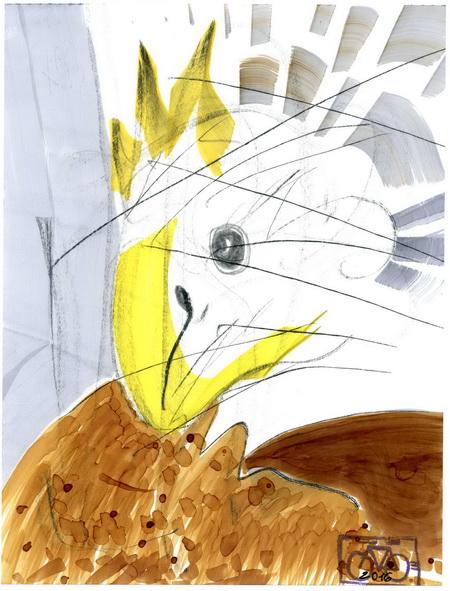Zeichnung: Legefreund V. Onmir, Rabenkalenderrückseite 17.3. 2016