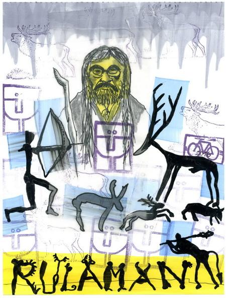 Zeichnung: (nach der Vorlage des THEATRO ATTEMPTO) V. Onmir, Rabenkalenderrückseite 20.3. 2016