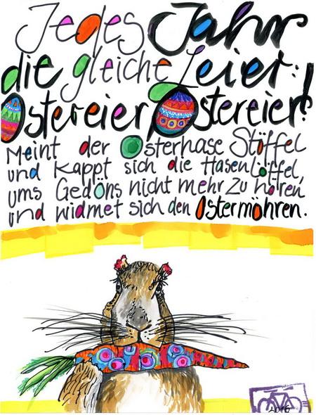 Zeichnung: Osterhasenintimus V. Onmir, Rabenkalenderrückseite 26.3. 2016