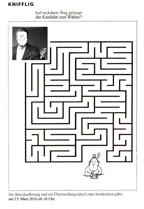 Zeichnung: Wahlforscher V. Onmir, Rabenkalenderrückseite 24.2.2016