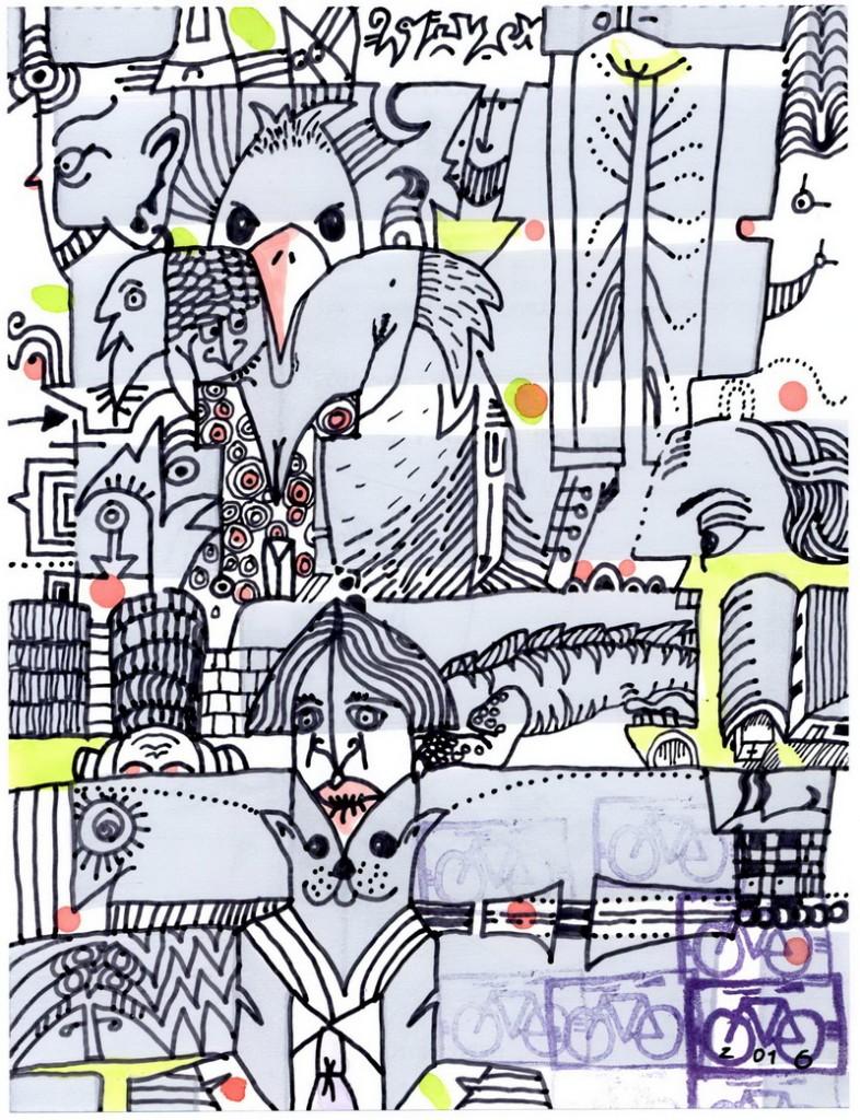 Zeichnung: Vierter-März-Kenner V. Onmir, Rabenkalenderrückseite 4.3.2016