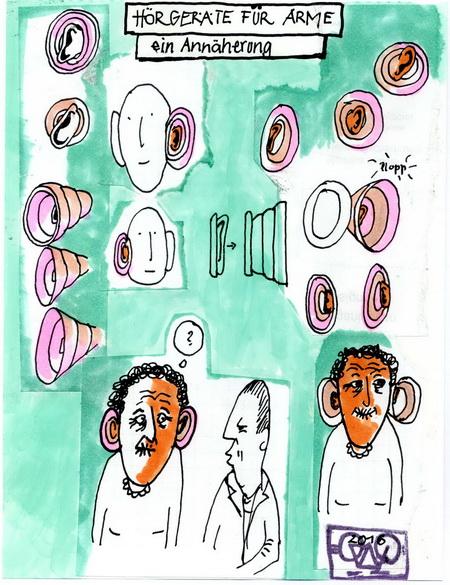 Zeichnung: Akustikbastler V. Onmir, Rabenkalenderrückseite 18.3. 2016
