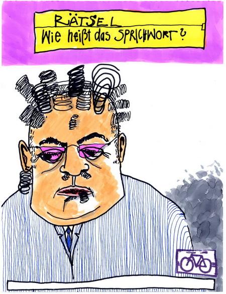 Zeichnung: Sprichworträtselfreund V. Onmir, Rabenkalenderrückseite 19.3. 2016