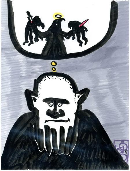 Zeichnung: V. Onmir, Rabenkalenderrückseite 30.3. 2016