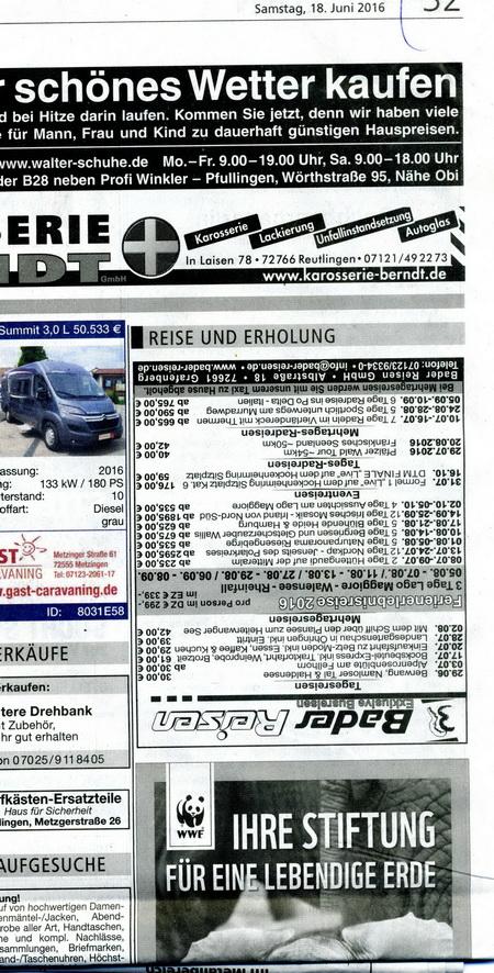 Reutlinger Nachrichten/SWP 18.6.2016