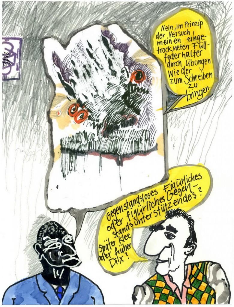 Zeichnung: Kunstfreund V. Onmir, Rabenkalenderrückseite 6.2.2016