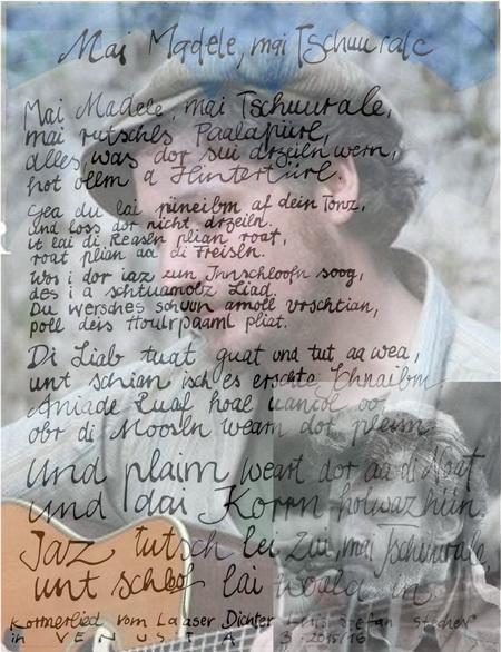 Zeichnung bearbeitet: Foto: Liedermacher Dominik Plangger. Text (rechts) Luis Stefan Stecher
