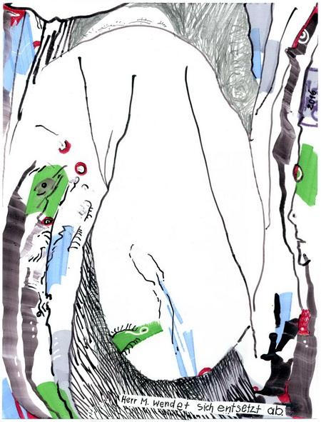 Zeichnung: Cartoonpsychologe V. Onmir, Rabenkalenderrückseite 4.7.2016