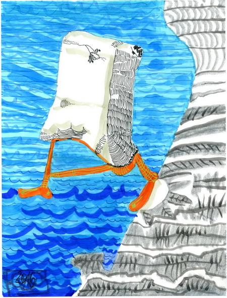 Zeichnung: Wasserläufer V. Onmir, Rabenkalenderrückseite 30.7.2016