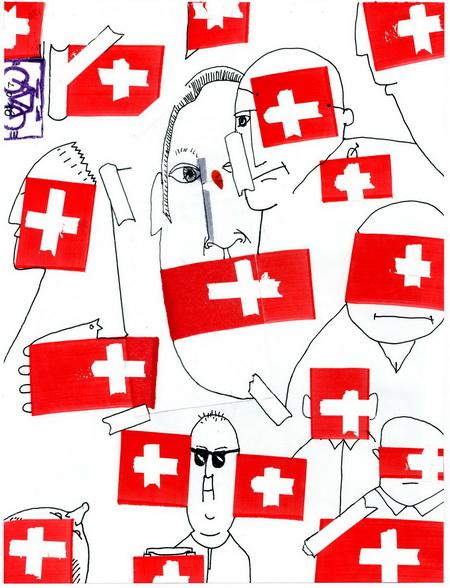 Zeichnung: Schweizversteher V. Onmir, Rabenkalenderrückseite 5.8.2016