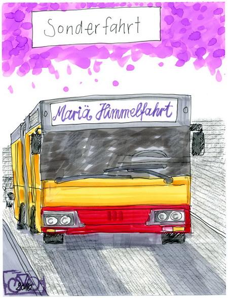 Zeichnung: Feragostoausflügler V. Onmir, Rabenkalenderrückseite 15.8.2016