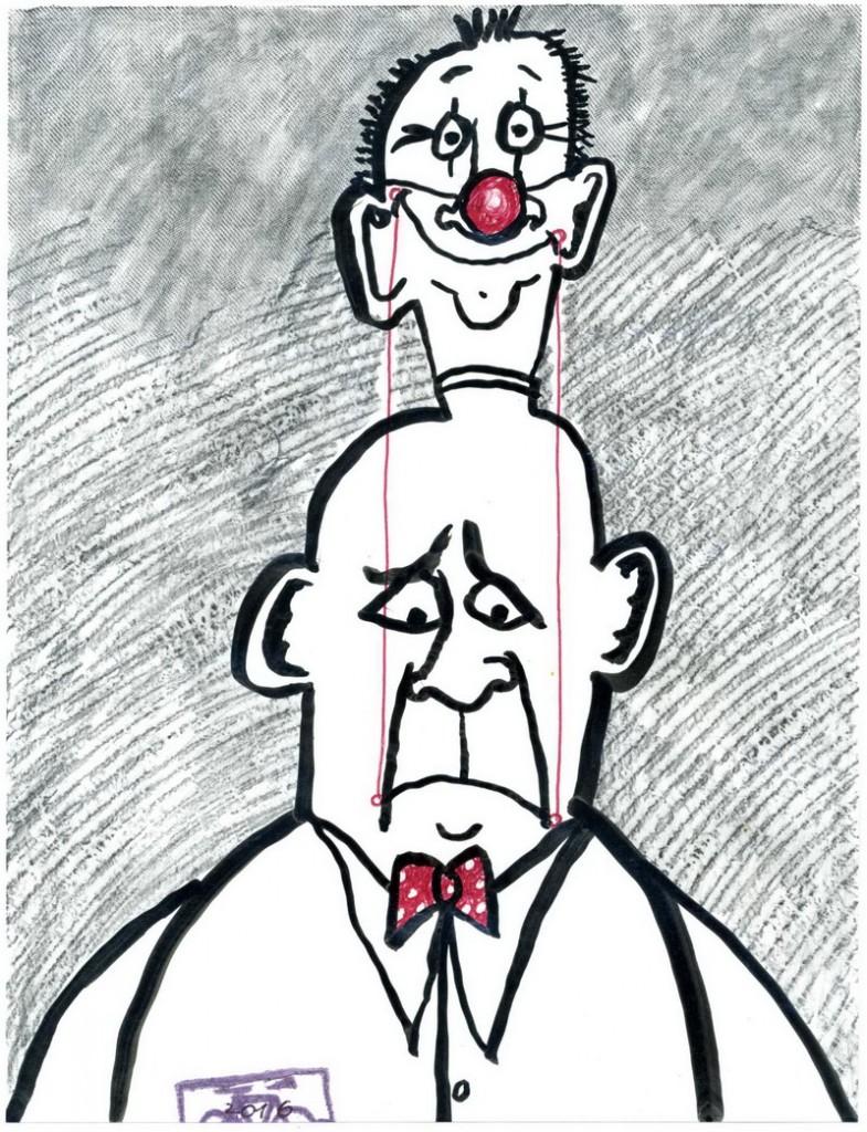 Zeichnung: Humoristenversteher V. Onmir, Rabenkalenderrückseite 23.7.2016