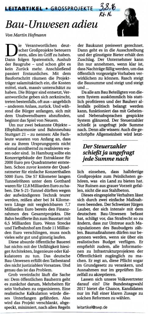 Persönlich ausgeschnitten aus den Reutlinger Nachrichten 2.8.2016 V. Onmir