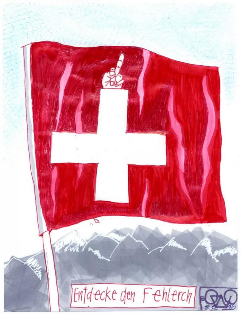 Zeichnung: Schweizbesucher V. Onmir, Rabenkalenderrückseite 9.8.2016