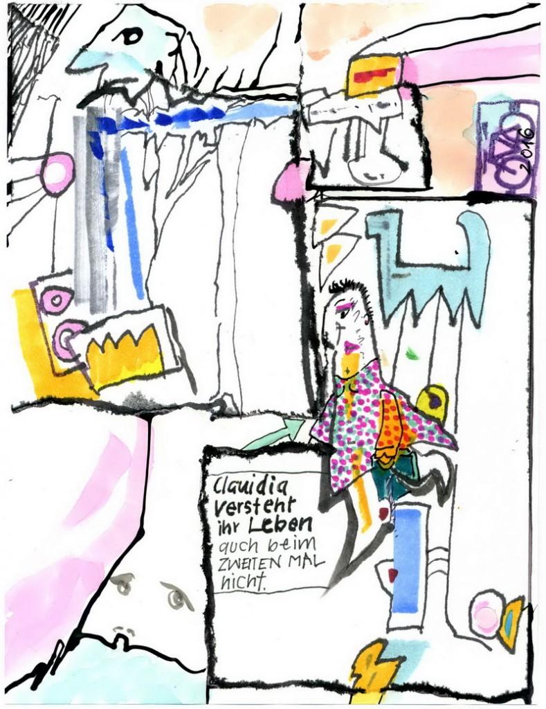 ZeichnungCartoonerklärer V. Onmir, Rabenkalenderrückseite 24.8.2016