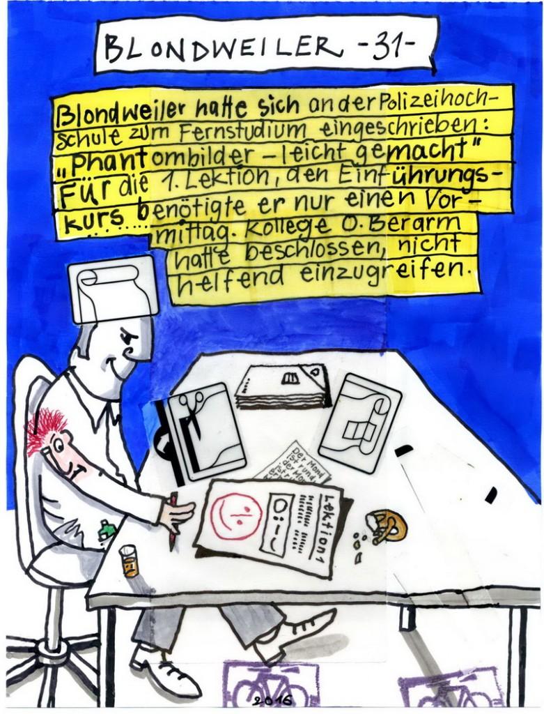 Zeichnung: Serienkriminalist V. Onmir, Rabenkalenderrückseite 28.7.2016