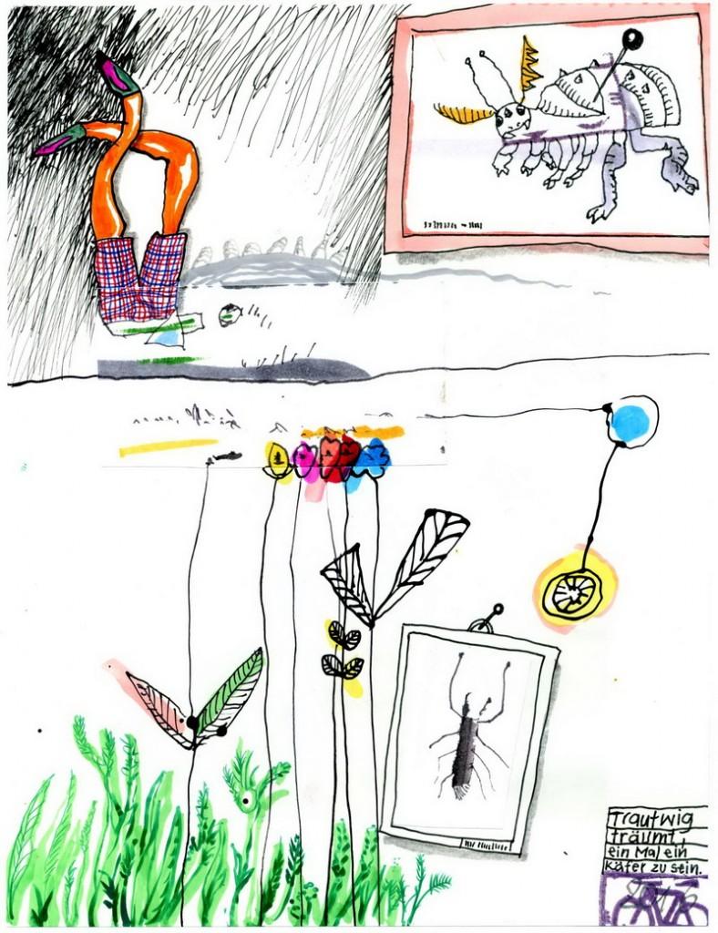 Zeichnung: Traumhobbyforscher V. Onmir, Rabenkalenderrückseite 16.8.2016