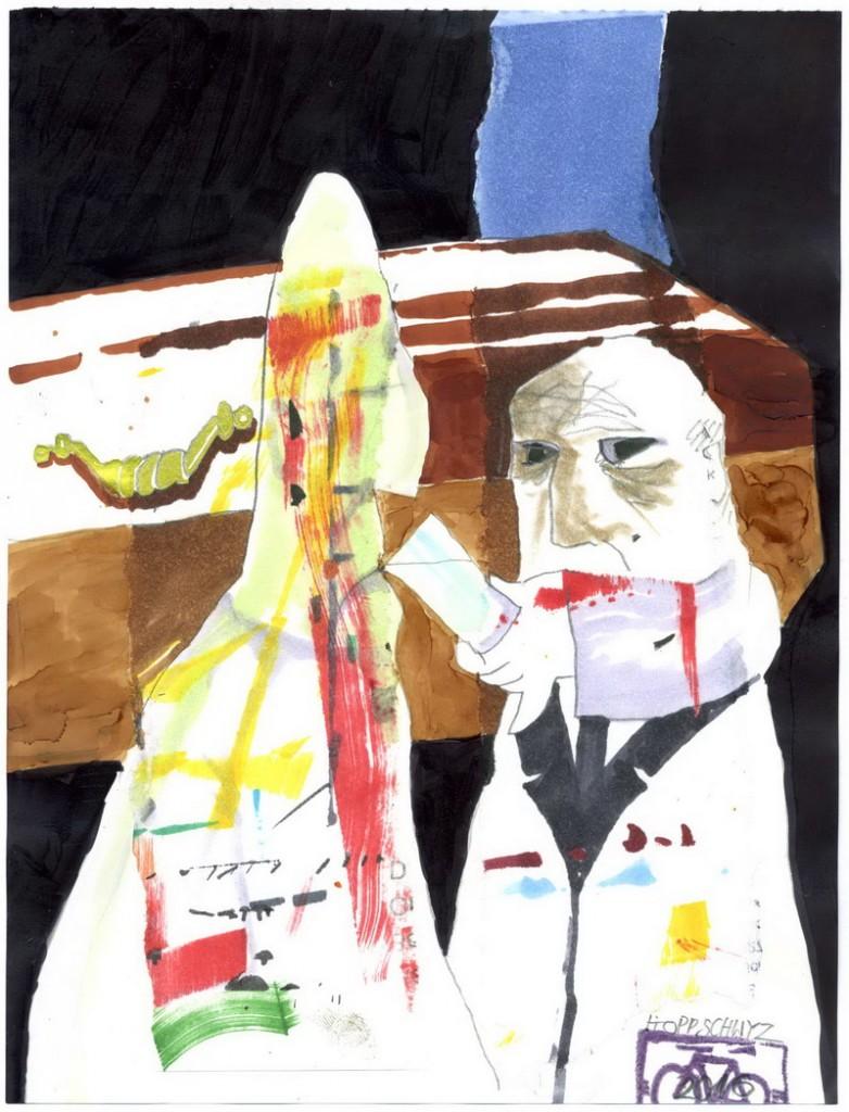 Zeichnung: V. Onmir, Rabenkalenderrückseite 23.8.2016