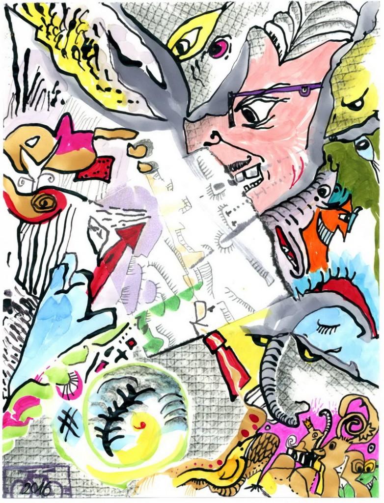 Zeichnung: Ohnetitelspezialist V. Onmir, Rabenkalenderrückseite 28.8.2016