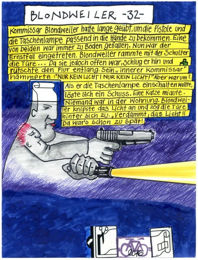 Zeichnung: Serienkriminalist V. Onmir, Rabenkalenderrückseite 14.9.2016
