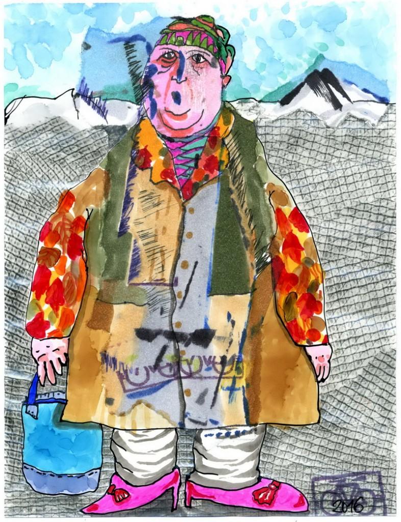 Zeichnung: V. Onmir, Rabenkalenderrückseite 23.9.2016