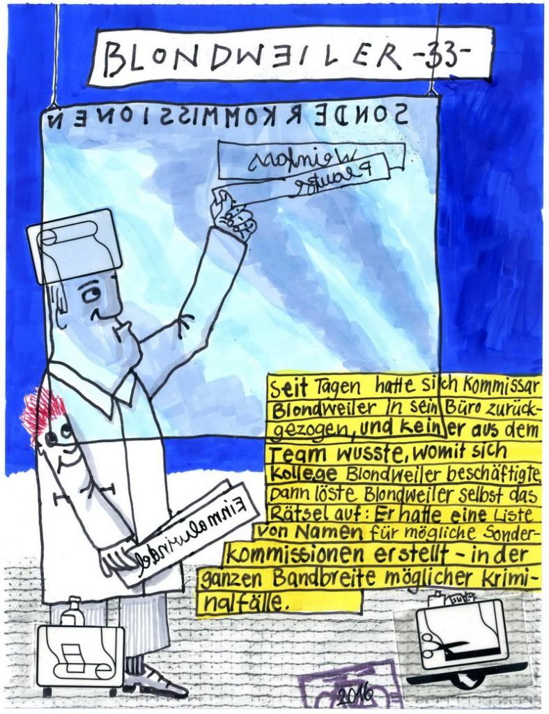 Zeichnung: Netzkriminalist V. Onmir, Rabenkalenderrückseite 19.9.2016