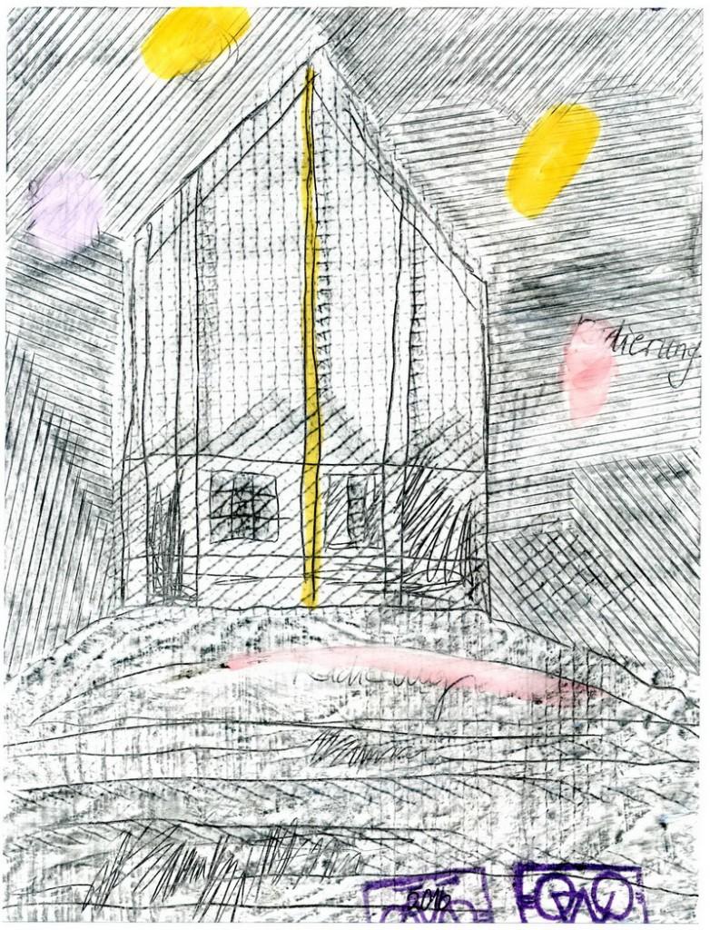 Zeichnung: Keine-Ahnung-von-Radierung-Habender V. Onmir, Rabenkalenderrückseite 16.10.2016