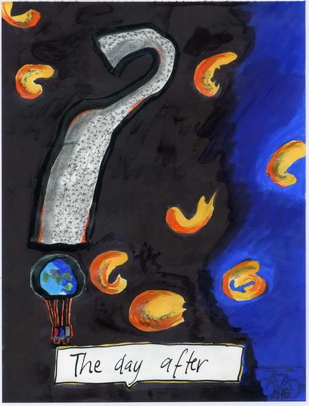 Zeichnung: V. Onmir, Rabenkalenderrückseite 11.11.2016