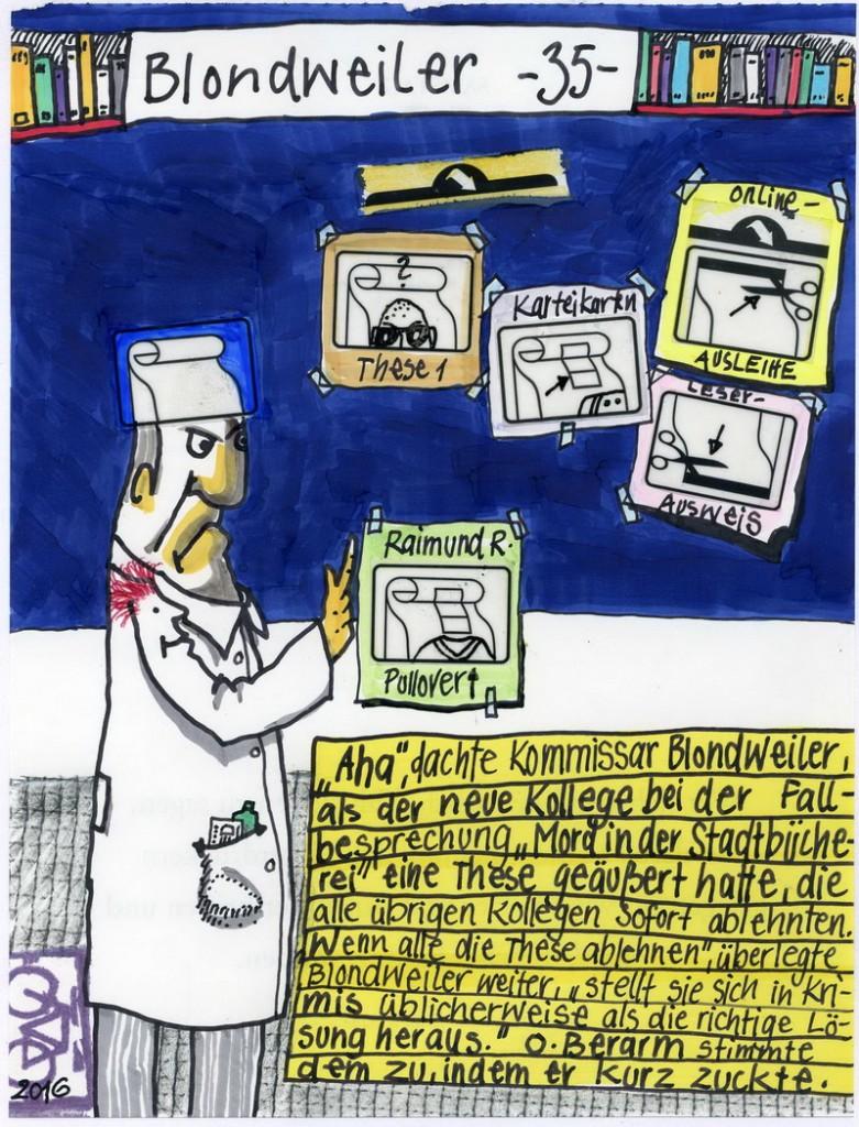 Zeichnung: Kriminalberater V. Onmir, Rabenkalenderrückseite 12.11. 2016