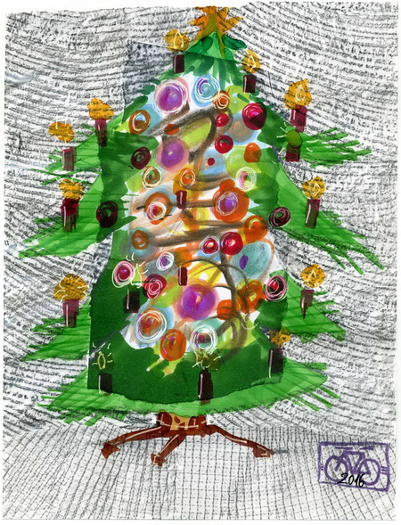 Zeichnung: V. Onmir (nach einem Foto von B. Aum, Rabenkalenderrückseite 24.12. 2016