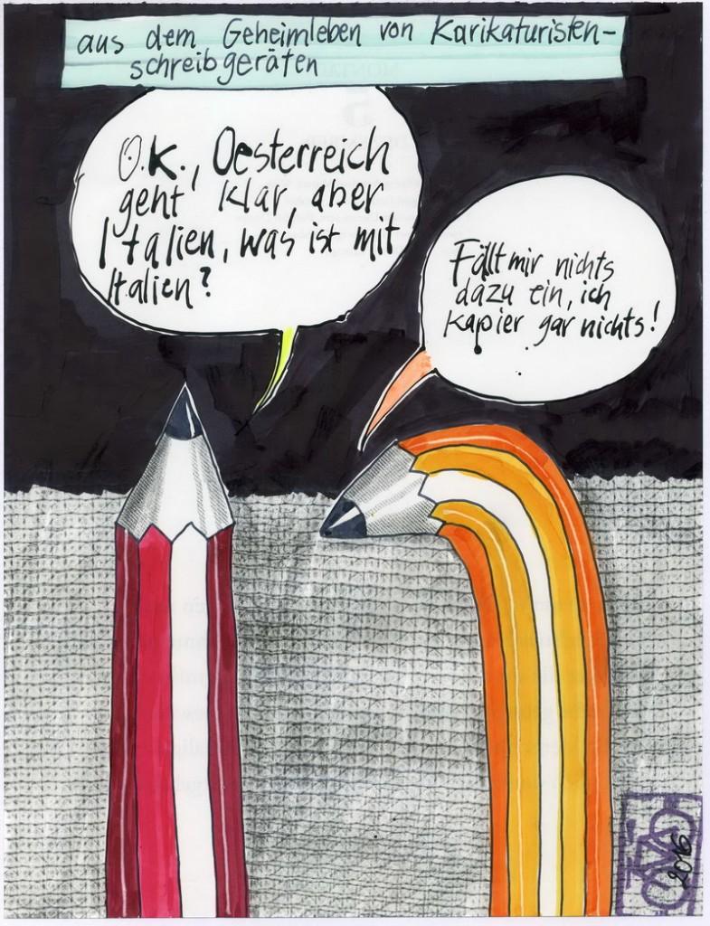 Zeichnung: Ratloser V. Onmir, Rabenkalenderrückseite 5.12. 2016