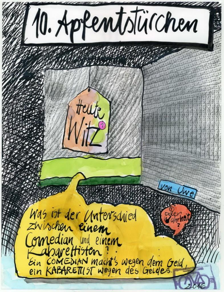 Zeichnung: Humorist V. Onmir, Rabenkalenderrückseite 10.12. 2016