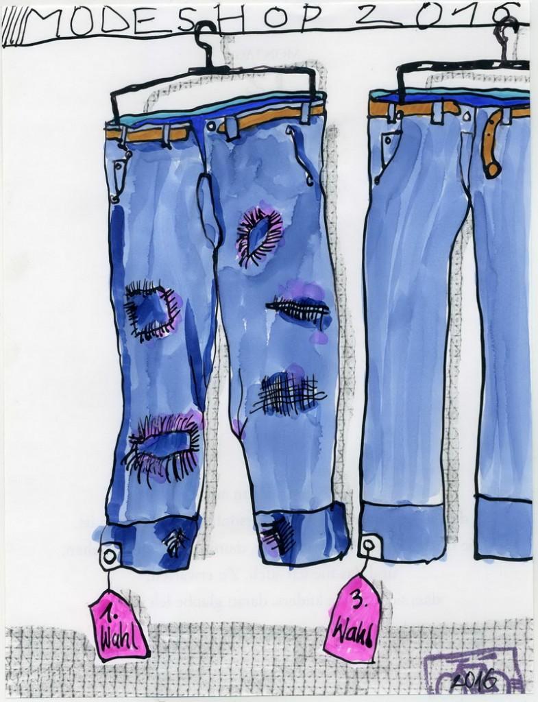 Zeichnung: Modescout V. Onmir, Rabenkalenderrückseite 12.12. 2016