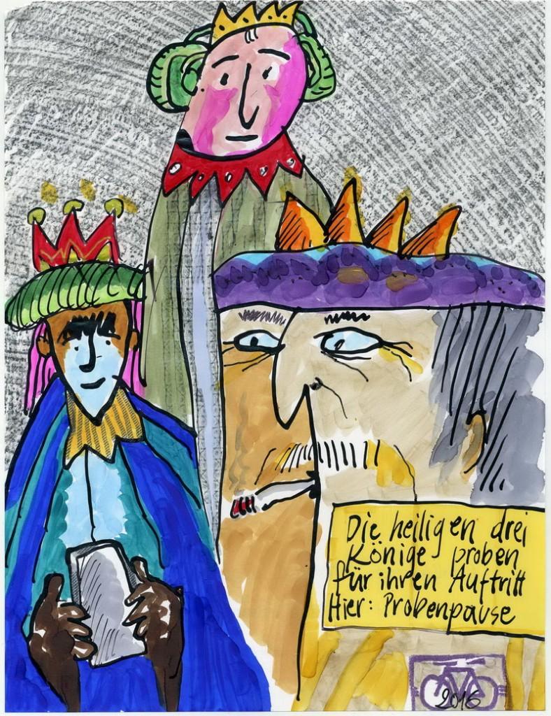 Zeichnung: V. Onmir, Rabenkalenderrückseite 18.12. 2016