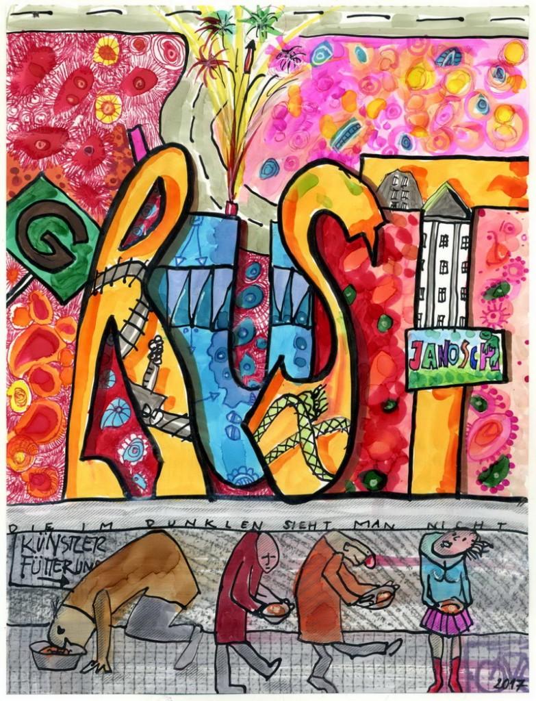 Zeichnung: V. Onmir, Rabenkalenderrückseite 31.12. 2016