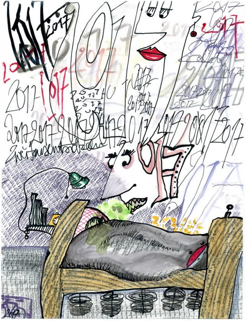 Zeichnung: Kalendarist V. Onmir, Rabenkalenderrückseite 1.1. 2017