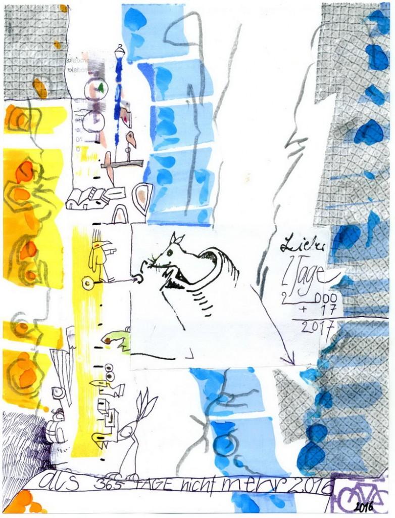 Zeichnung: Mäuseforscher ohne chirurgische Eingriffe V. Onmir (ohne Dr.), Rabenkalenderrückseite 2.1. 2017