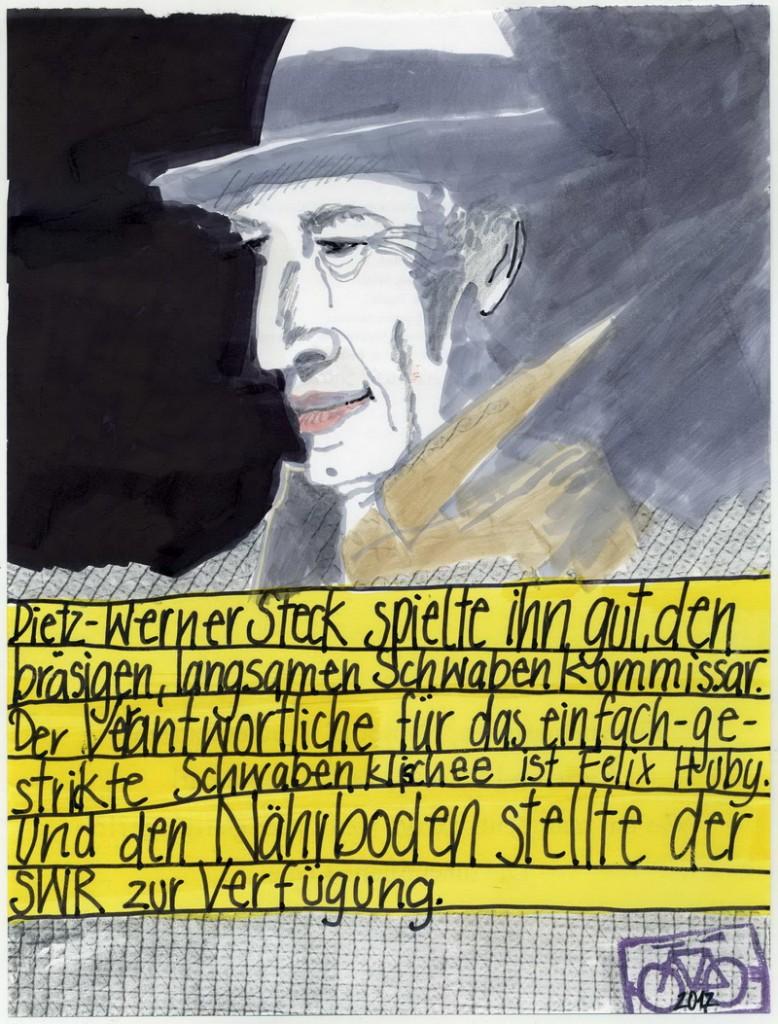 Zeichnung: Bienzletatortfremdschämer V. Onmir, Rabenkalenderrückseite 8.1. 2017