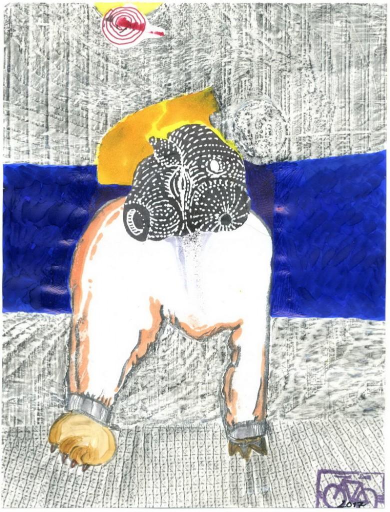 Zeichnung: Ohntitler V. Onmir, Rabenkalenderrückseite 28.1. 2017