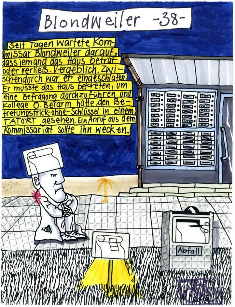 Zeichnung: Kriminalzeichner V. Onmir, Rabenkalenderrückseite 29.1. 2017